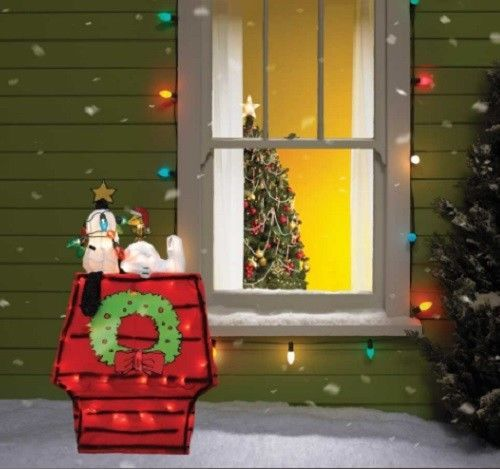 Lighted Peanuts Snoopy Doghouse Sculpture Outdoor Christmas Lawn Yard Decor #HomeImprovements