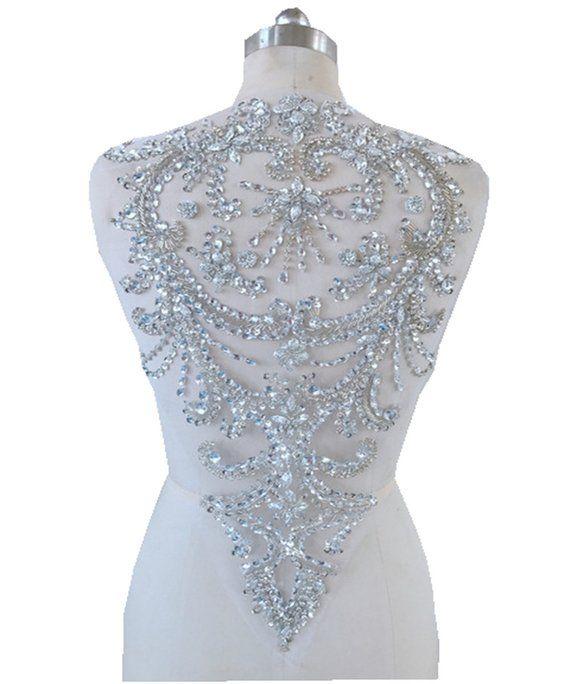 Handmade Silver Crystal Patches Sequins Rhinestones Applique Etsy In 2020 Rhinestone Appliques Bodice Wedding Dress Handmade Silver