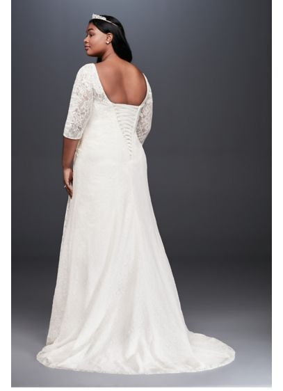 bab54ca3f7da2 Draped Lace A-Line Plus Size Wedding Dress 9WG3896