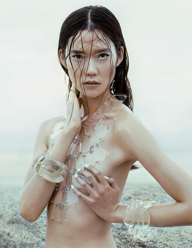 Tao Okamoto looks breathtakingly stunning in Vogue China's editorial spread... though I wish I could crop the photo to show from just the collar bone up..