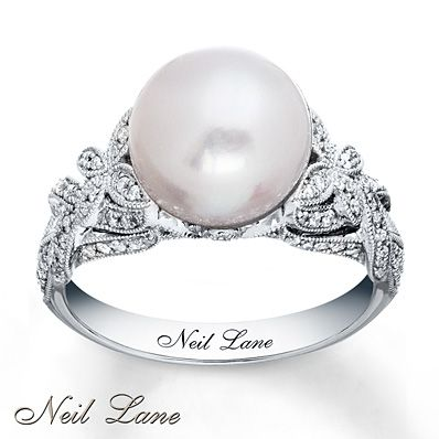 Im classy i dont want a diamond i want a pearl-Cultured Pearl Ring 3/8 ct tw Diamonds 14K White Gold