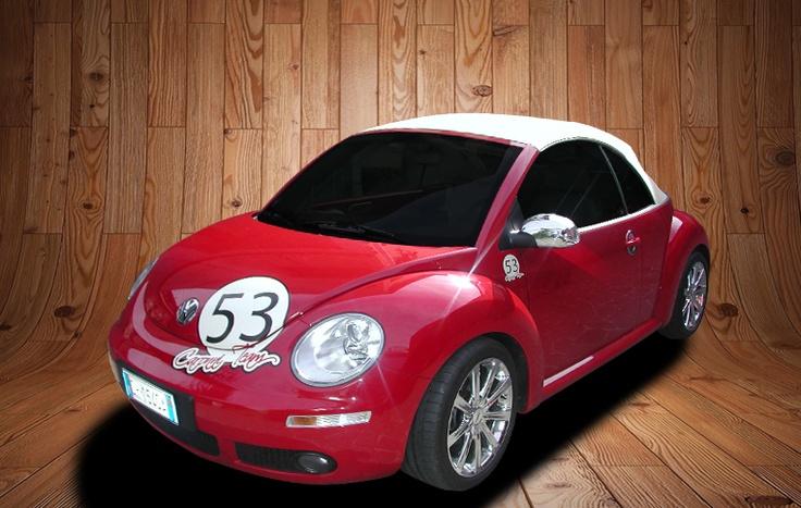 Decorazione new beetle cabriolet tramite adesivo stampato in quadricromia.  www.guidoborgonovo.it