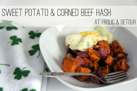 Sweet Potato & Corned Beef Hash with Fried Eggs -- use up your St ...