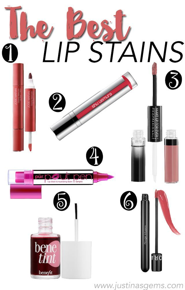 Some of my favorite lip stains by Pur Minerals, Benefit, Sephora, Make Up For Ever, Shu Uemura, and Josie Maran.