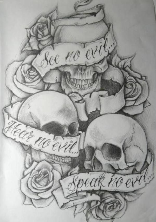 See no evil, Hear no evil, Speak no evil skull tattoo design (9)