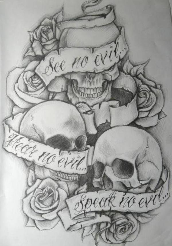 See no evil, Hear no evil, Speak no evil skull tattoo design (9)