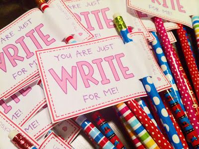 """You Are Just Write for Me"" Valentines with pencil...too cute! I love it because it still gives the kids a treat, but the treat isn't junk food :-)"
