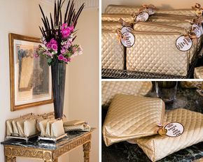 Gold matelasse necessaire as favor for a bridal shower.