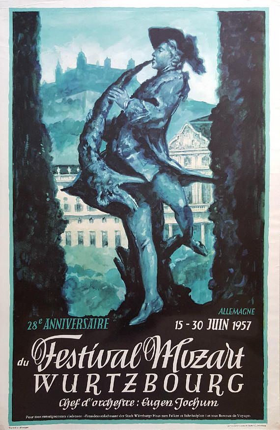 1957 Mozart Festival in Germany  Original Vintage Poster