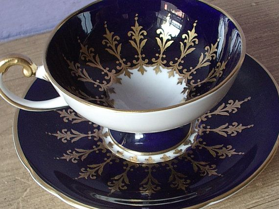Antique Aynsley blue and gold tea cup set vintage by ShoponSherman, $99.00