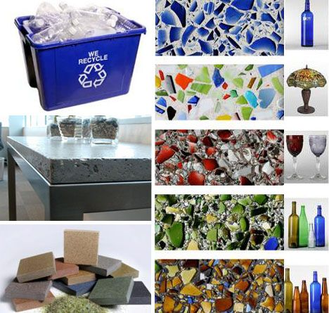 recycled glass countertops... such an awesome idea!