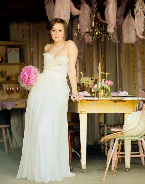 Pocket Full Of Posey Silk Wedding Gown By Claire La Faye