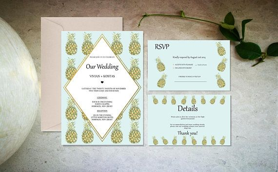Blue and gold tropical wedding invitation set template-Digital