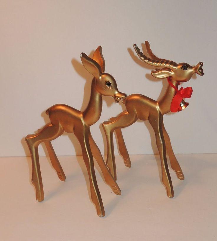 Vintage 1960s Breyer Gold Deer Reindeer Pair Mid Century Modern Christmas Decor  | eBay