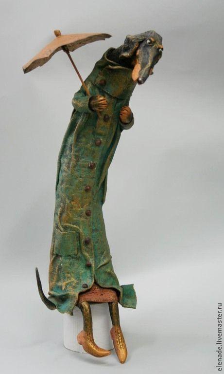 Купить Такса под зонтиком - зеленый, такса, такса в пальто, авторская кукла такса, подарок