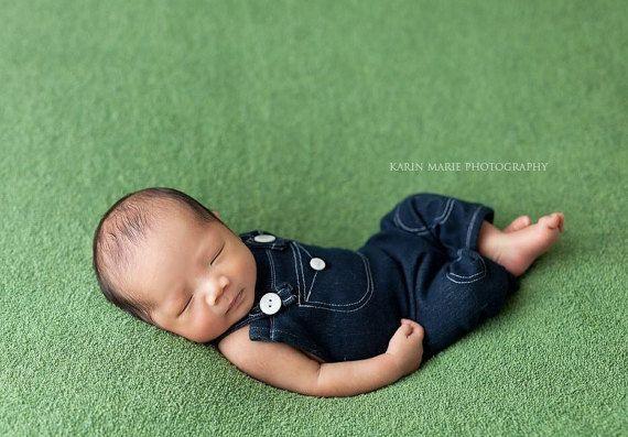 Newborn  ANDY  stretch denim overalls & by JazzCraftBoutique
