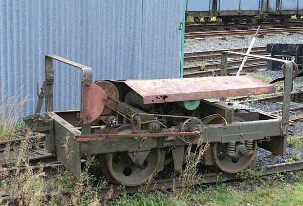 ex-Lydd Wickham Target Trolley outside Llanuwchllyn carriage shed - Bill Hyde collection
