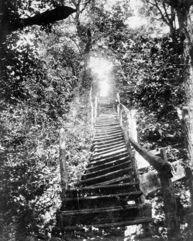 """Freedom Stairway""  the one hundred steps leading down from the Rankin House toward the Ohio River. The John Rankin House in Ripley was a station on the Underground Railroad It was said that when a light shone in the window of Rankins home , it was safe for the slaves to approach. Rankin helped more than 2 thousand slaves to escape..Riply Ohio"