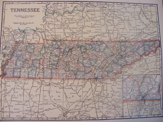 1923 Vintage Map Of West Virginia And Tennessee  WV TN