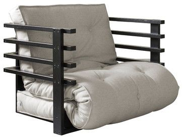 Fresh Futon Funk Convertible Futon Chair/Bed, Black Frame, Natural Mattress  Contemporary . Contemporary FutonsFoldable ...