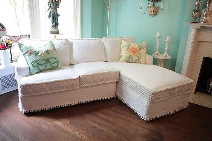 shabby chic sectional sofa vintage matelasse bedspread slipcover whit. Black Bedroom Furniture Sets. Home Design Ideas