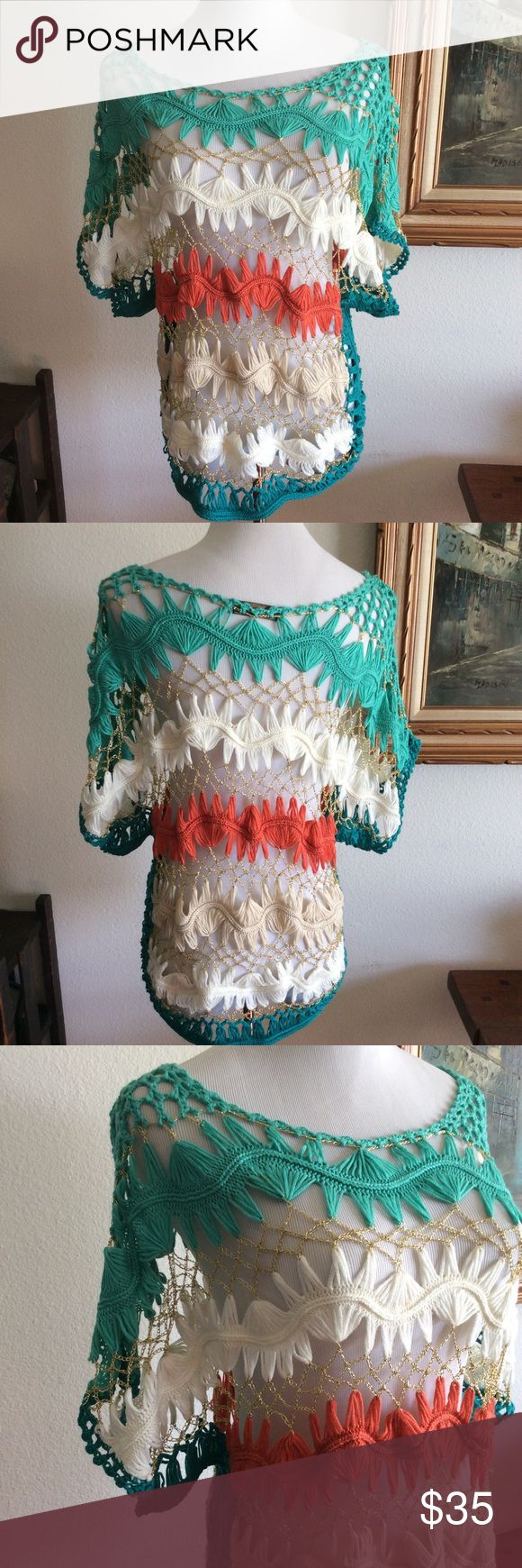 Crochet short sleeve top cover, knit Size M , colors white, green ,guava and gold details, great with jeans, great condition Tops Tees - Short Sleeve