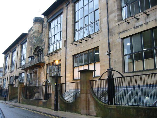 Glasgow School of Art, designed by renowned Scottish architect Charles Rennie Mackintosh. Elegant Art Nouveau style.