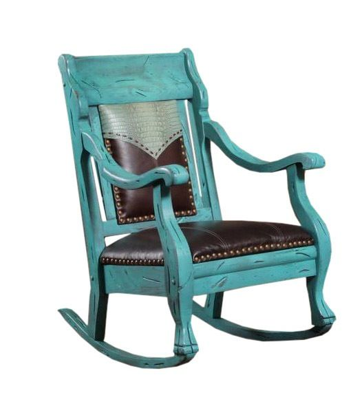 Turquoise Rocker with Crocco Embossed Yoke and Chocolate Leather Seat ...