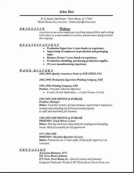 The 25+ best Resume writing examples ideas on Pinterest Resume - resume waitress