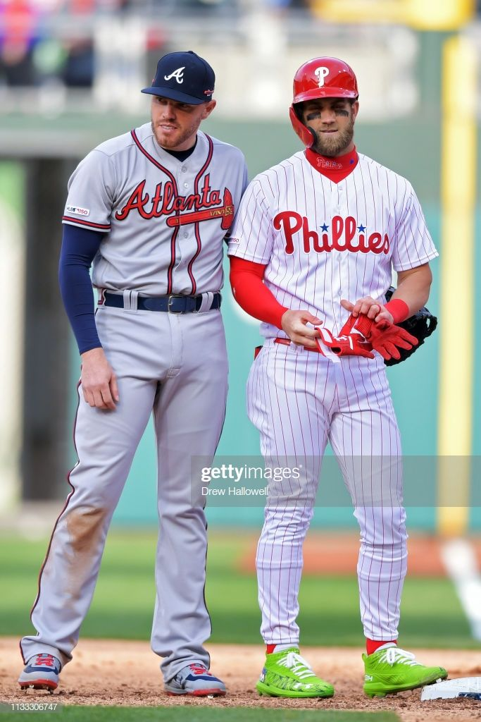 Bryce Harper Of The Philadelphia Phillies Stands At First Base