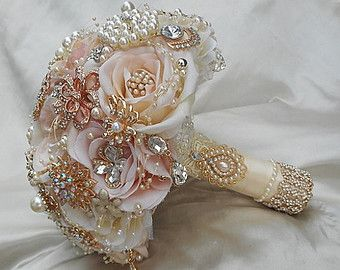 Custom Brooch Bouquet Pink and Gold Jeweled by Elegantweddingdecor
