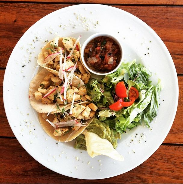 The Real Coconut Tacos: Served on our original house-made coconut tortillas, with guacamole and chipotle salsa, leaves & greens.Protein Options: Fish, shrimp, or beef.