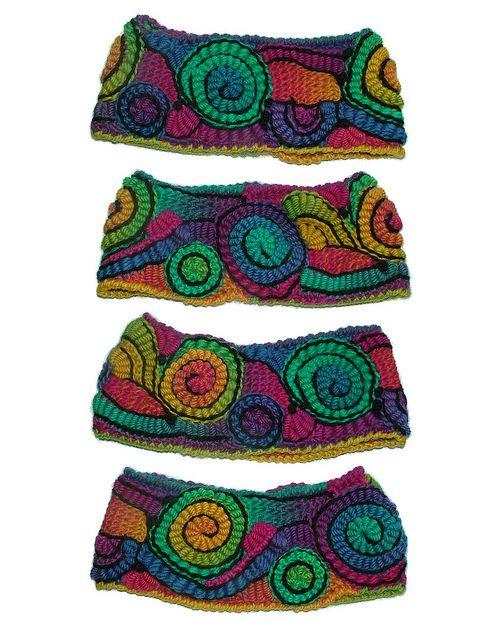 Rainbow Crayons - freeform crochet earwarmer headband - 1 by renatekirkpatrick, via Flickr