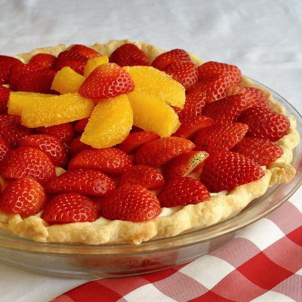 Easy Strawberry Orange White Chocolate Mousse Pie - plenty of fresh strawberries and orange sections top a very easy to make, short-cut white chocolate mousse in a flaky, buttery pastry shell.
