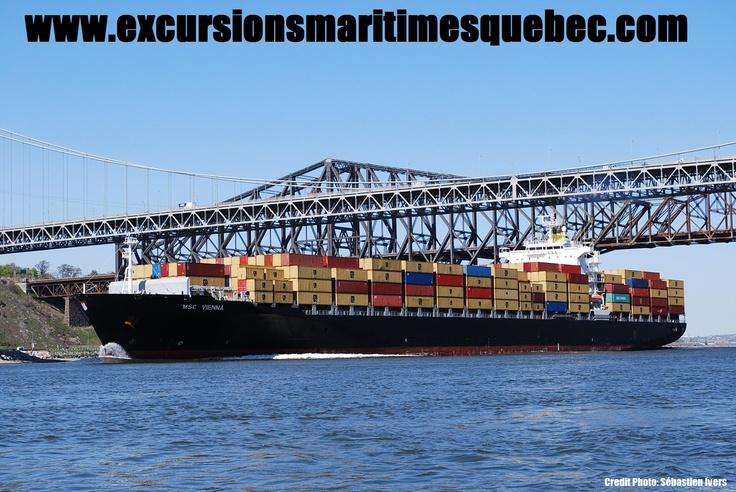 Bateau cargo vue à partir d'une embarcation d'Excursions Maritimes Québec.  Cargo boat seen from an Excusions Maritimes Quebec's boat.