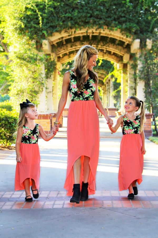 2017 summer mother and daughter clothes floral print chiffon mom and daughter dress party family matching clothes outfits #Affiliate