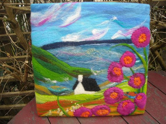 felt picture wet felted flower landscape by SueForeyfibreart, $100.00