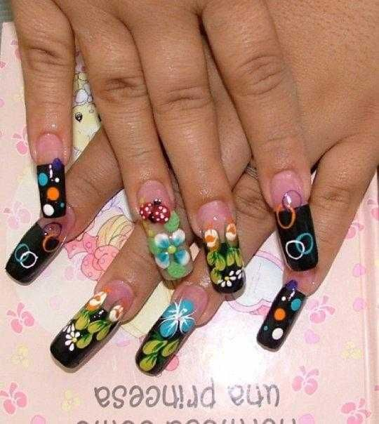 3-D Colored Acrylic Floral Nails
