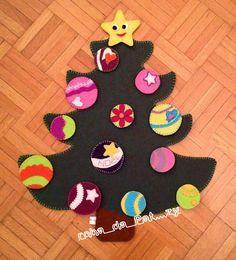 albero di Natale in pannolenci con palline amovibili e spostabili, per bimbi - tutorial sul blog