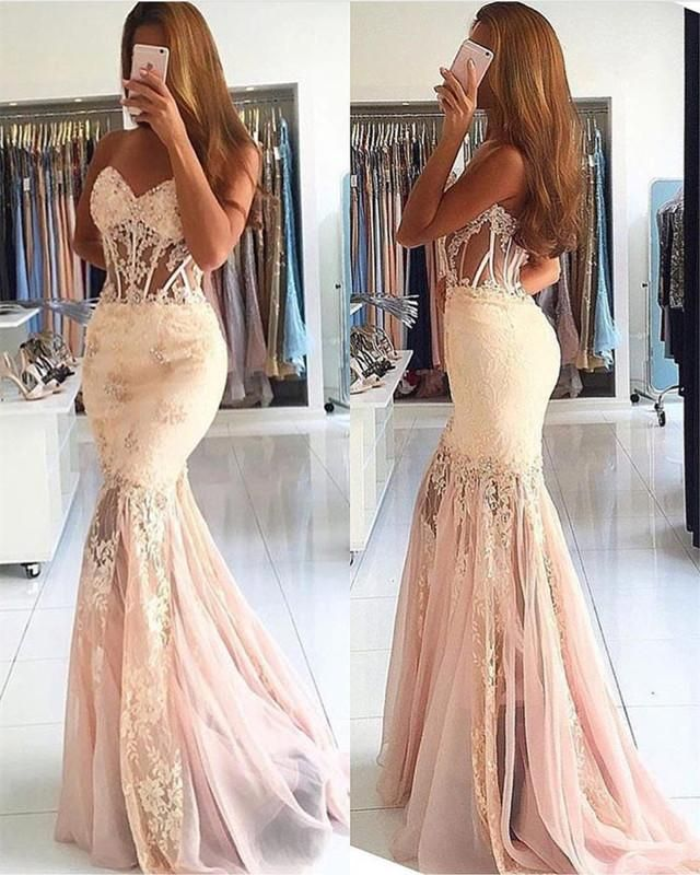 3c6dc25c887 Elegant Lace Appliques Sweetheart See Through Corset Tulle Mermaid Prom  Dresses