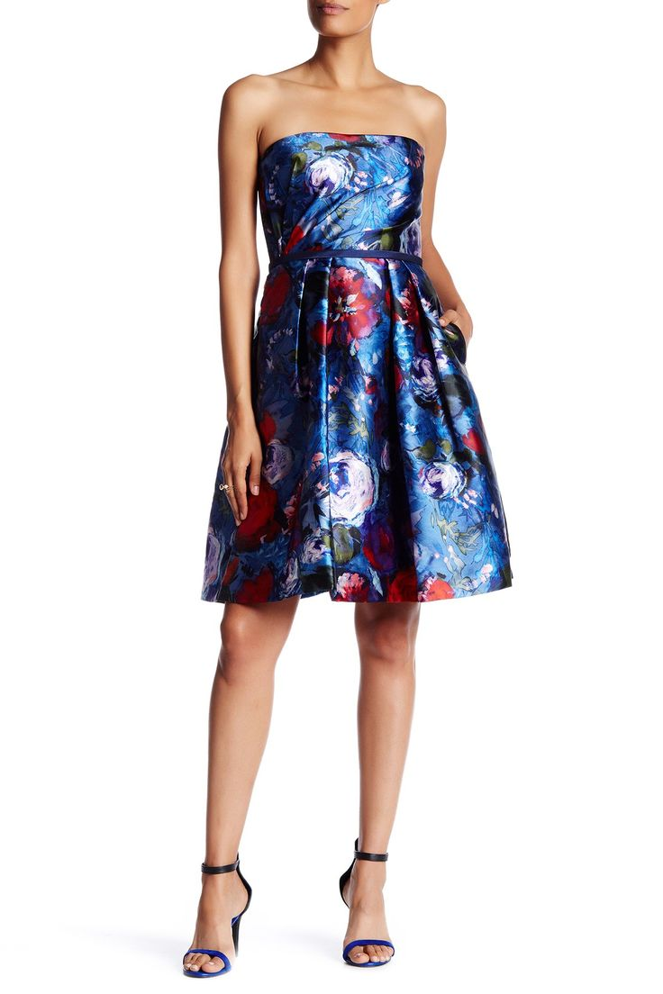 Floral Print Sateen Twill Strapless Party Dress
