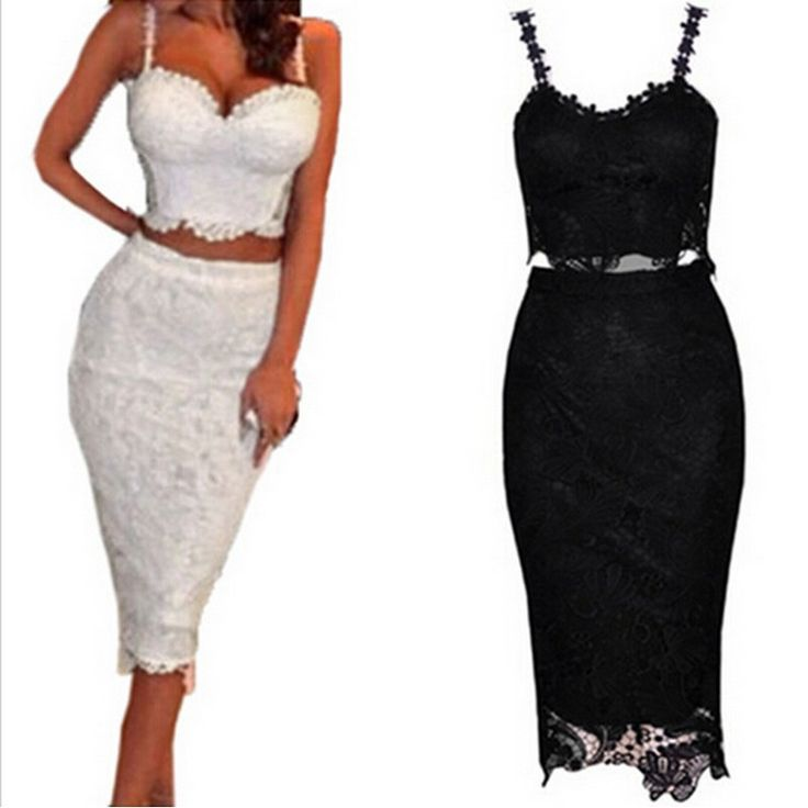 Cheap lace cheongsam dress, Buy Quality lace sheath wedding dress directly from China dress dyed Suppliers:  Celebrity Sexy Party Dresses 2015 Women Two Piece Outfits Black White Lace Dress Bandage 2 Piece Set Women Midi