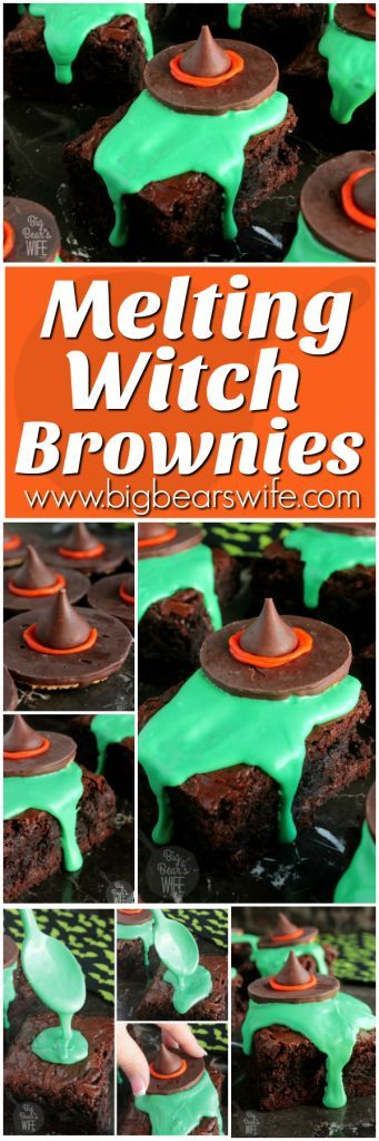 So cute! They were a hot at the Halloween party! Easy t make too! Melting Witch Brownies - Big Bear's Wife: