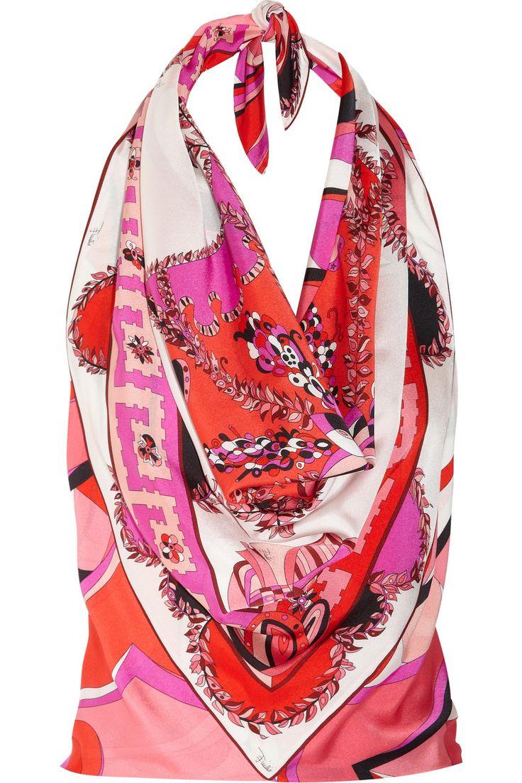 EMILIO PUCCI  Printed silk-charmeuse handkerchief top