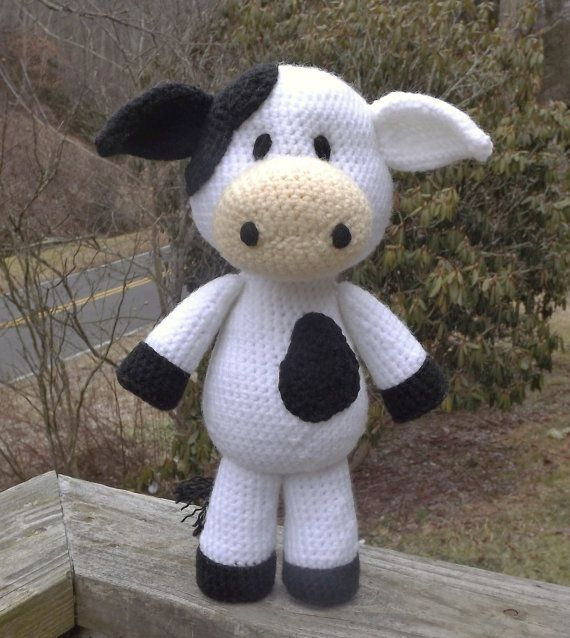 Amigurumi Pattern Little Cows : Handmade Little Cow Amigurumi, Larger Size