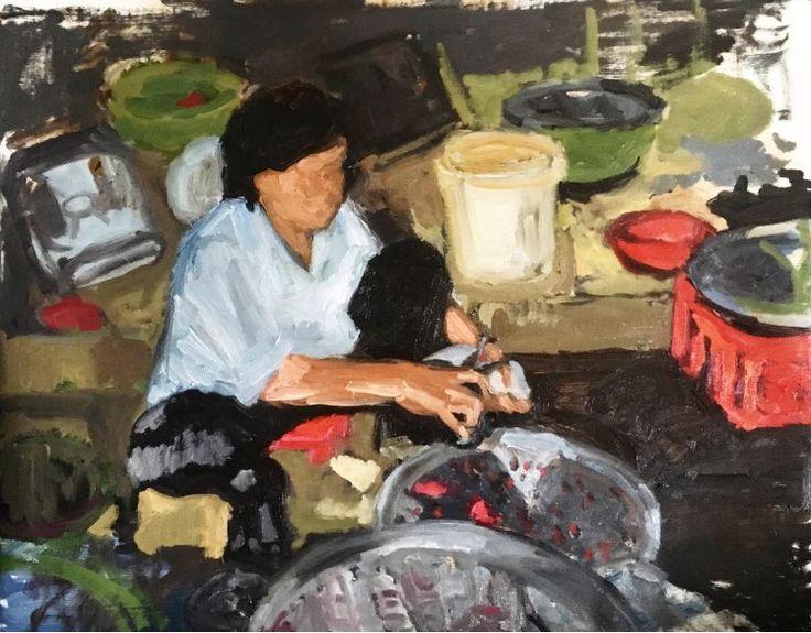 night fish market in saigon, oil on linen