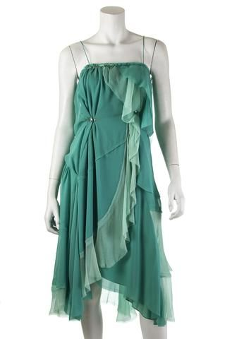 Nina Ricci green chiffon dress | OWN THE COUTURE | Canada's luxury designer consignment online boutique
