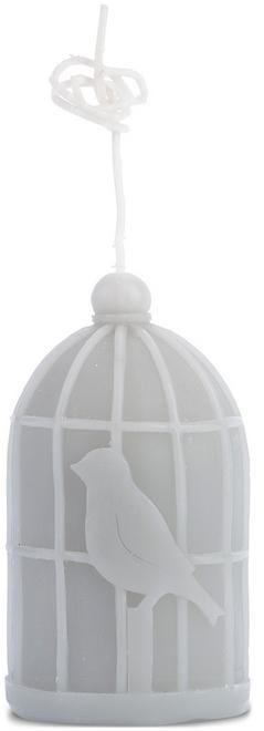 Leuke licht grijze kaars in de vorm van een vogelkooi en vogeltje. Er zit een hele lange lont aan, dus je kunt hem echt ergens ophangen. De kaars is 6 x 12 cm lang.