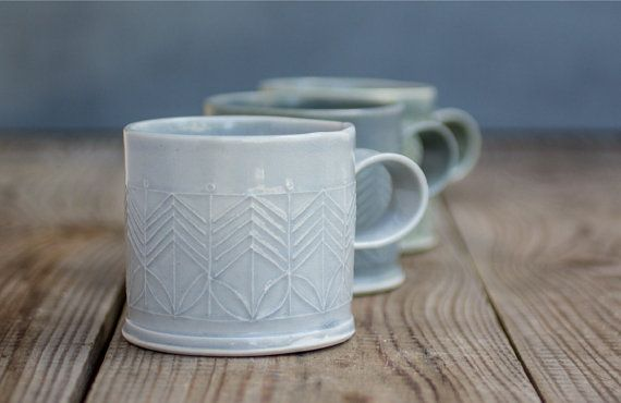 Light Blue Porcelain Mug Porcelain Coffee Cup by FreeFolding