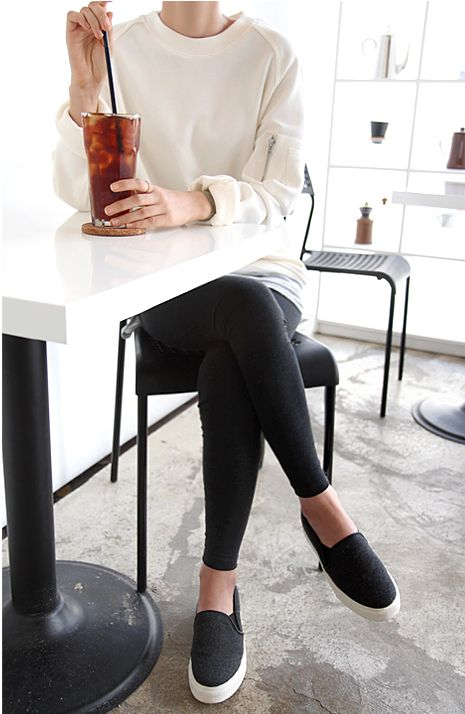 Comfy sweater or sweatshirt, leggings and slip on sneakers. Easy, comfy and cute.